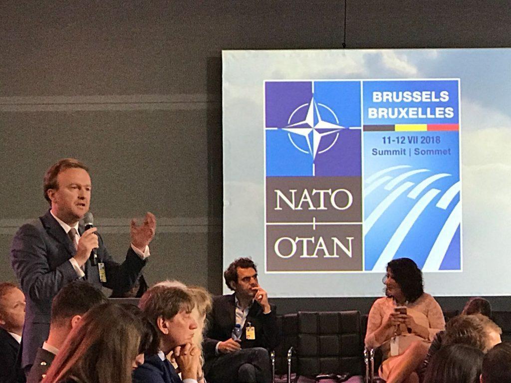 Foto de mai jos: Florin Luca prezentând în fața unui public de aproximativ 300 de persoane opiniile legate de viitorul și valorile NATO, cât și de modul în care acestea trebuie înțelese ©Florin Luca